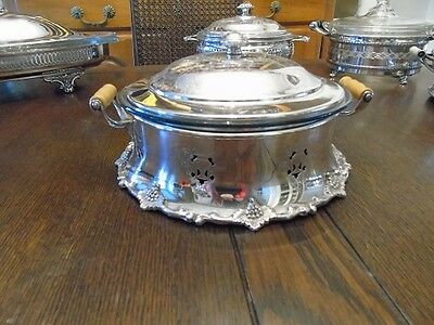 Vintage Coronet Plate Silverplate Covered Vegetable Bowl with Glass Insert