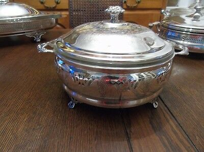 Art Deco Viking Plate Silverplate Covered Vegetable Dish with Glass Insert