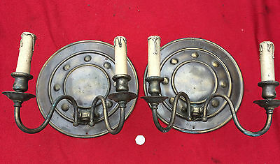 Pair Arts & Crafts-Edwardian Brass Double Electric Light Wall Sconce Circular
