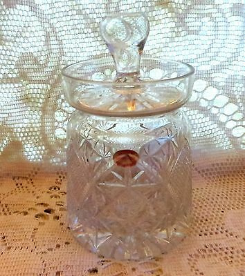 Vintage Regency Crystal Ltd Glass Stourbridge Jar Sugar Jam Honey Marmalade Jar