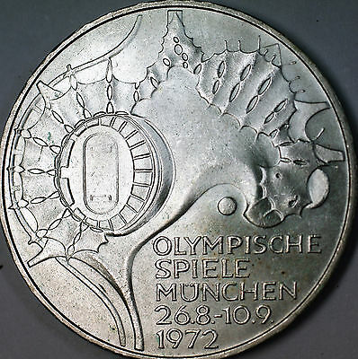 1972 D German 10 Marks Silver Coin Olympic Games Commemorative Map AU- BU