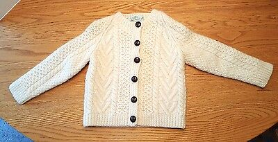 Quill's Woolen Market Child's Cable Knit Cardigan Size 3-4? Ivory Heavy Ireland