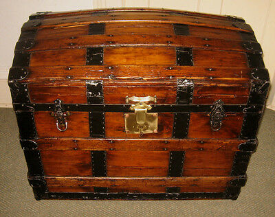 Antique Steamer Trunk Vintage Victorian Round Top Wood Brides Style Chest C1880