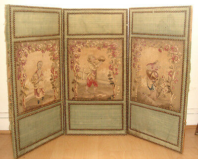 An Exceptional Antique 19th Century 3-Panel French Aubusson Tapestry Firescreen