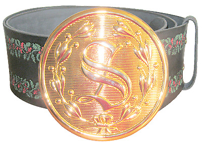 """***santa Leather Belt With Colored Embossed Holly Leafs And 5 1/2"""" Buckle***"""