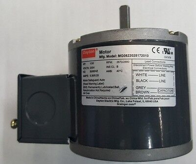 Dayton Motor Model MG0822028172010 230V 50/60 Hz 1/3 A 1/30 HP, Grainger #3M725