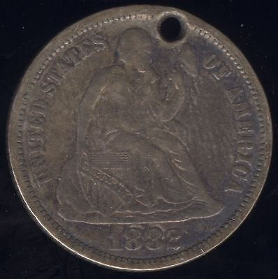 """Genuine 1882 """"W J C"""" Love Token Silver Seated Liberty 10c with Hole"""