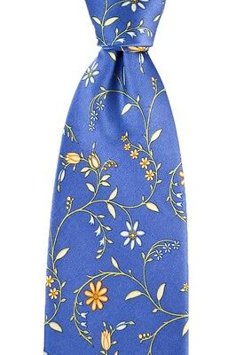 """Mens BRIONI Italy Sapphire Blue Floral Hand Made Woven 3.25"""" Silk Neck Tie NWT"""