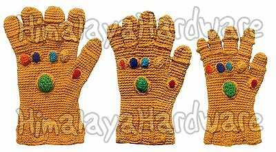 Infinity Gauntlet Gloves: knit crochet wool Thanos Marvel gems cosplay costume