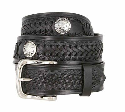 """Western Scorpion Hand Woven Genuine Leather Belt w/ Indian Concho 1-1/2"""" Wide"""