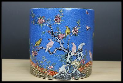 Chinese Rare Beautiful Famille Rose Porcelain Flowers and birds Brush Pot