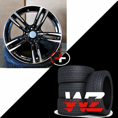 """18"""" 437 Style Wheels Tires Gloss Black Machined Fits BMW 3 4 5 6 Series 128 325"""
