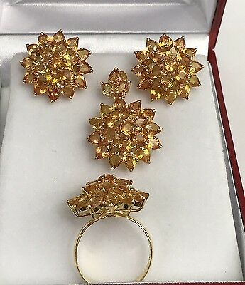 14k Solid Gold Cluster Set Earrings Ring Pendant, Natural Orange Sapphire.