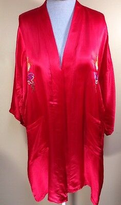 Golden Dragon Robe Large 100% Pure Silk Red Hand Embroidered MISSING BELT Fabric