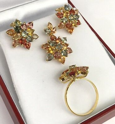 14k Solid Gold Flower Cluster Set Earrings Ring Pendant, Natural Color Sapphire.