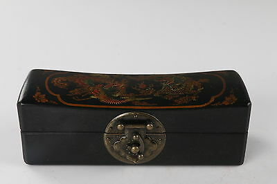 Collection Chinese painted dragon and phoenix Wooden Jewelry box h689