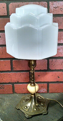Unusual Art Deco Gothic Revival Desk Lamp W/dome Shade Expert Lamp Co. 1920's