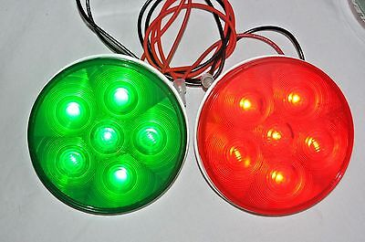 """LED Red and Green Signal Traffic Lights by Tri-Lite 4"""" A1612G A1612R Stop & Go"""