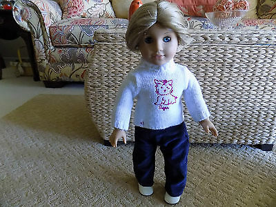 American Girl Doll  18 in with short hair and blue eyes, pierced ears