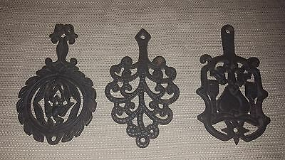 Cool lot of three small vintage cast iron decorative trivets