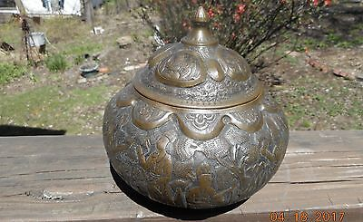 Antique Oriental Asian Covered Box Vessel Storyteller Silver Copper Gold Wash