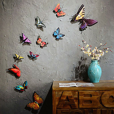 3D Metal Butterfly Floral Decor Wall Home Garden Fence Sculpture Wedding Party