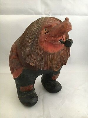 Vintage Hand Carved Wood Troll Folk Art Sculpture Carving Figure
