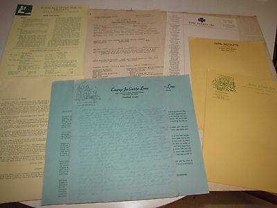 Lot of 1940's Camp Juliette Low Training Center & Girl Scout Camp Flyers Letters