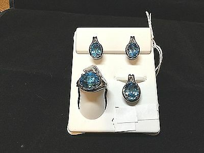 NEW Oval Blue Topaz Sterling Silver Ring sz7-Earrings-Pendant-Ladies Jewelry 4Pc
