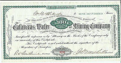 Certificate for 100 Shares Calaveras Water and Mining Company February 25, 1882