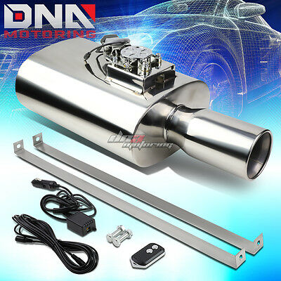 """4""""rolled Tip Stainless Performance Muffler Exhaust+Electric Remote Sound Control"""