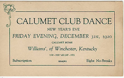Calumet Club Dance New Year's Eve Dec. 31,1920 Williams' of Winchester KY LOOK!!