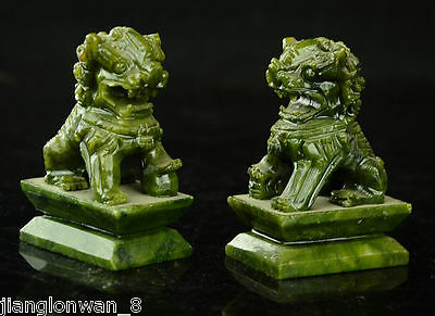 Rare Chinese 100% natural Jade Hand-carved A Pair Of Foo dog Lions Statue