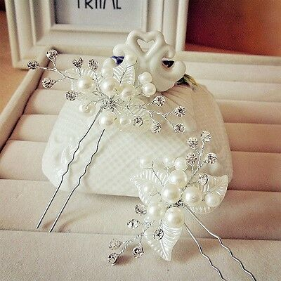 Pretty Wedding Bridal Pearl Flower Crystal Hair Pin