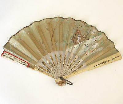"""Antique Hand Fan Hand Painted House Flowers 8.5"""" w late 1800s Family Estate item"""