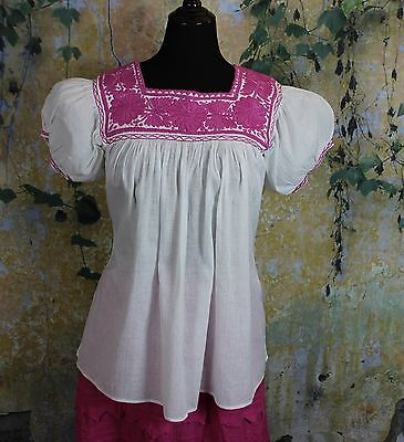 Pink & White Hand Embroidered Blouse Mayan Chiapas Mexico Peasant Hippie Boho