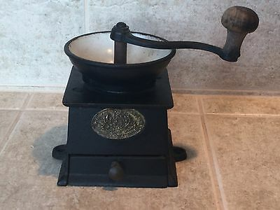 Antique Cast Iron Coffee Mill / Grinder Kenrick and Sons No 0