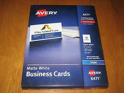 Avery® Printable Microperf Business Cards Inkjet White Matte 1000/box (Ave8471)