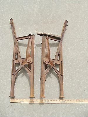 Pair Of Vintage Cast Iron Theater Seat Legs Steampunk Architectual Upcycle Film