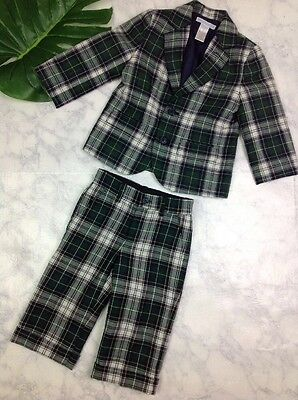 Janie and Jack Green Tartan Plaid Suit Blazer Pants Easter Holiday 18 24 Months