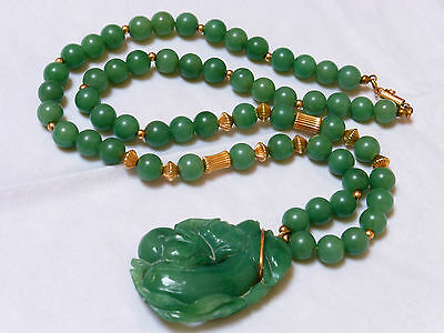 """Vintage Chinese 14K Gold Carved Jade Bead Necklace Pendant 24"""" Long"""