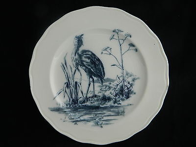 Antique Brown-Westhead & Moore pottery plate with Fontaine's fables bird pattern