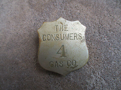 vintage 1920 The Consumer Gas Company Utility Chauffeur Employee Badge Pin