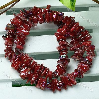 Red MOP Abalone Shell AB Chip Loose Finding Charm Gems Beads Fit Making Strand