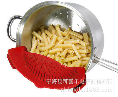Kitchen Pan Strainer SNAP'N STRAIN Clip-on Silicone Pasta Draining Liquid Tool