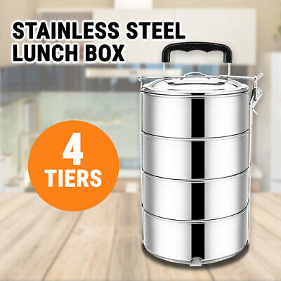 Stainless Steel Lunch Box Food Container 4 Tiers