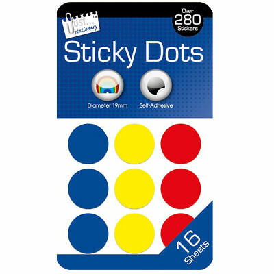 288 Coloured Sticky Dots 19mm Self Adhesive Labels Stickers Circle Round 5931