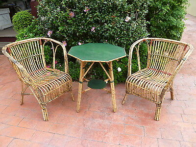 Antique~Vintage~French~Country~Cottage~3~Piece~Split~Cane~Table~2~Chair~Setting