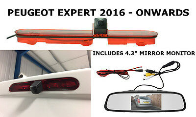 Peugeot Expert Van Reversing High Level Brake Light Camera Kit & Mirror Monitor