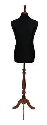DELUXE MALE Tailors Dummy Sewing Display Mannequin Torso BLACK Bust ROSE Stand